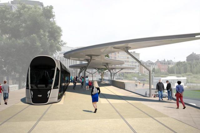 Même si le premier tronçon doit entrer en service au deuxième semestre 2017 entre le Pont Rouge et Luxexpo, les travaux au-delà débutent également. Ici, le futur aspect de la place de l'Étoile. (Photo: Luxtram)