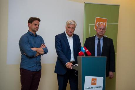 Marc Spautz, président du parti (à droite de Claude Wiseler), et Laurent Zeimet (à sa gauche), secrétaire général, ont notamment été confortés dans leurs fonctions. (Photo: Nader Ghavami)