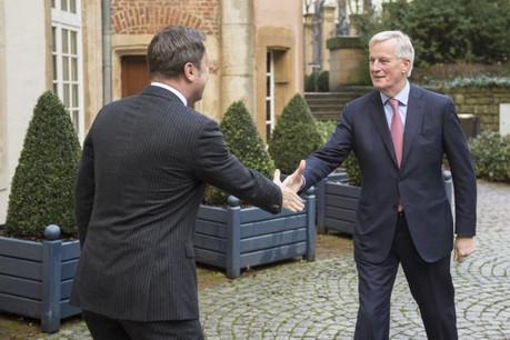 Xavier Bettel recevait chaleureusement Michel Barnier la semaine dernière, insistant sur le maintien d'une relation forte avec le Royaume-Uni. (Photo: Anthony Dehez / archives)