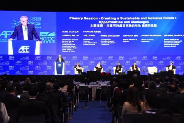 Pierre Gramegna est intervenu lors de l'Asia Roadshow de l'Alfi, mais aussi sur le sujet de la finance durable lors de l'Asian Financial Forum (photo). (Photo: SIP)