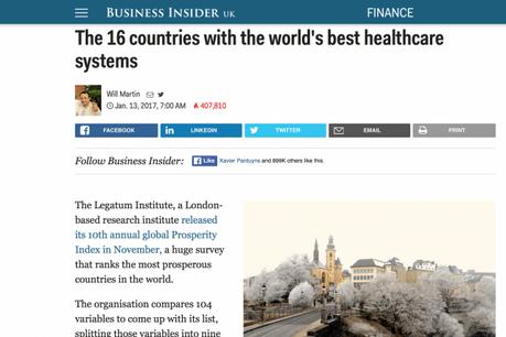 Le Luxembourg se classe en tête du classement, devant Singapour. (Photo: capture d'écran)