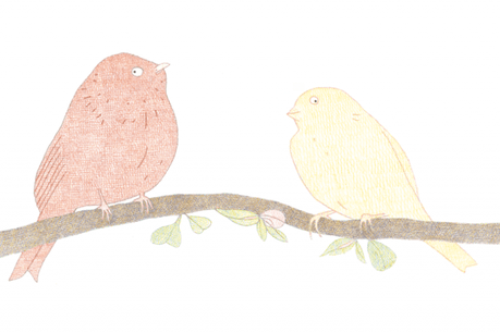 Djijo et Mina sont deux oiseaux dont les jeunes lecteurs suivent les aventures à travers le Mudam. (Illustration: Isabelle Marmann)