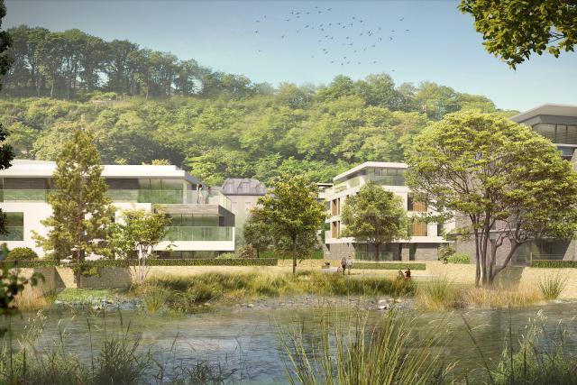 Le projet laissera la place à de nombreux espaces verts, s'inscrivant dans l'environnement existant. (Photo: Immobel Luxembourg)