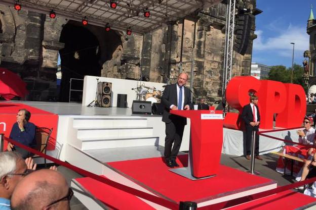 En visite à Trèves ce mardi, Martin Schulz promettait moins d'inégalités sans la CDU. (Photo: SPD)