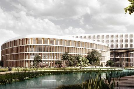 Le projet lauréat présente une volumétrie originale de trois bâtiments qui ont chacun une fonction déterminée. (Illustrations: Albert Wimmer / Architects Collective)