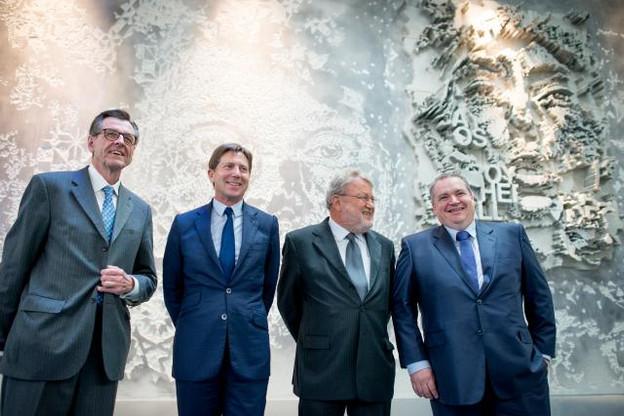 Alphonse Berns, David Arendt, Robert Goebbels et Philippe Dauvergne, les quatre piliers chargés de soutenir le Freeport Luxembourg. (Photo: Christophe Olinger)