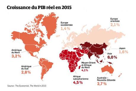 La croissance mondiale semble sur la bonne voie pour 2016 mais la lenteur de la reprise inquiète le secteur bancaire. (Carte: The Economist - The World in 2015)