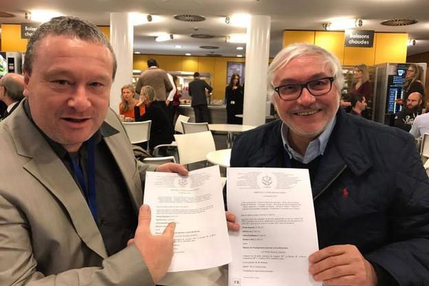 Georges Gondon (à droite) préside le GEIE Frontaliers européens au Luxembourg. (Phoo: Facebook)