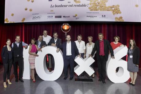 Anaïs Bouillet (Maison Moderne), la présentatrice de la soirée, et les 10 orateurs du 10x6 RH. (Photo: Maison Moderne)