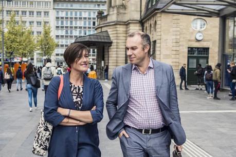 Frédérique Buck et François Gemenne échangent sur une thématique à la fois brûlante et centrale pour notre société. (Photo: Mike Zenari)