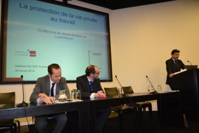 Gérard Lommel, président de la CNPD, lors d'une conférence sur la protection de la vie privée au travail. (Photo: CJBL)