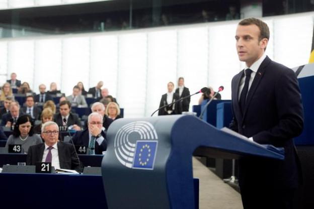 Emmanuel Macron lors du débat sur l'avenir de l'Union européenne, ce mardi à Strasbourg. (Photo: Union européenne)