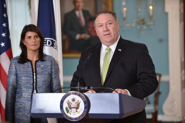 Le secrétaire d'État Mike Pompeo et l'ambassadrice américaine à l'Onu, Nikki Haley, ont officialisé la décision. (Photo: Licence C.C.)