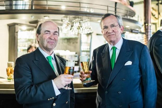 Frédéric de Radiguès et Georges Lentz, à la tête de la Brasserie nationale, affichent un sourire face aux résultats. (Photo: Mike Zenari)