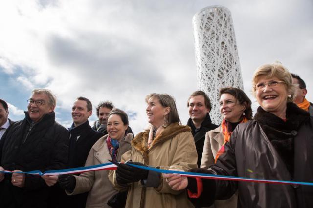 L'inauguration s'est déroulée dans un froid glacial, mais sous un soleil radieux. (Photo : Edouard Olszewski)