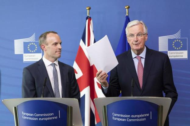 Dominic Raab, ministre britannique en charge du Brexit, et Michel Barnier, négociateur en chef de l'UE, se sont rencontrés jeudi autour de négociations qui patinent. (Photo: Commission européenne/Services audiovisuels)
