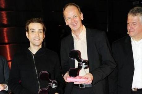 Les lauréats Charles Nilles et Claude Muller (Comed) avec Eric Hiéronimus (INDR, membre du jury) et Roger Wagner (Faber). (Photo: David Laurent/Wide)