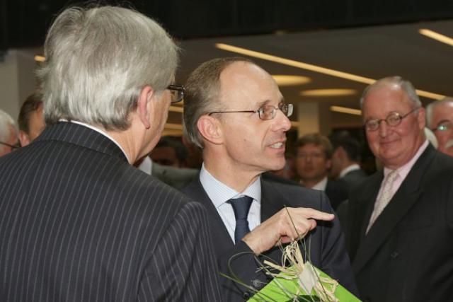 Bloqué par Juncker, Frieden s'est fait un nom aux Finances… ici devant Contzen, alors CEO de Deutsche Bank Luxembourg.  (Photo: Luc Deflorenne / archives)