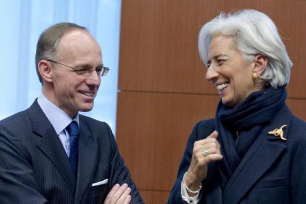 Luc Frieden et Christine Lagarde lors d'un conseil Ecofin en février 2013. (Photo: Conseil européen)