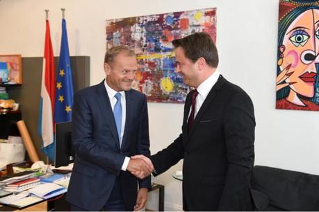 Le Premier ministre recevait ce jeudi le président du Conseil européen, Donald Tusk. (Photo: Conseil européen)