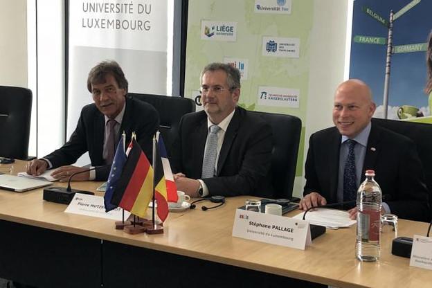 (de g. à dr.) Manfred Schmitt, président de l'Université de la Sarre et vice-président de l'UniGR, Pierre Mutzenhardt, président de l'Université de Lorraine et de l'UniGR, et Stéphane Pallage, recteur de l'Université du Luxembourg. (Photo: Audrey Somnard)