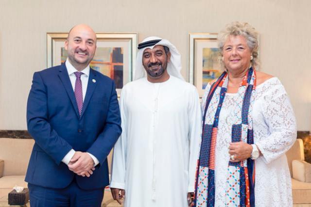 Étienne Schneider, le cheikh Ahmed Bin Saeed Al Maktoum et Maggy Nagel. (Photo: ministère de l'Economie)