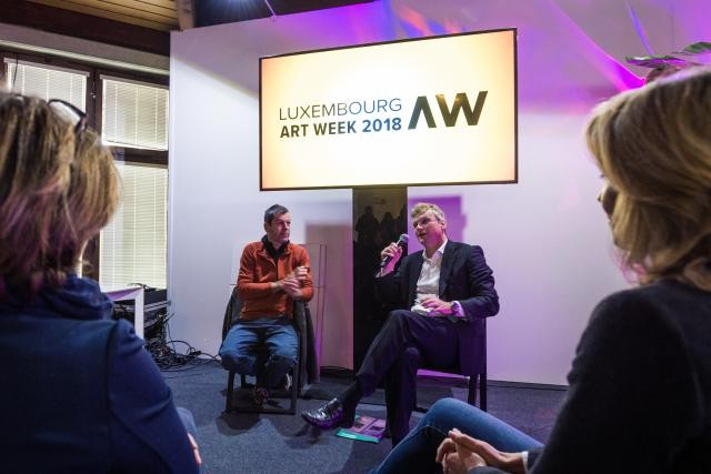 Alex Reding et Marc Hostert présentent l'édition 2018 de Luxembourg Art Week. Photo : Mike Zenari