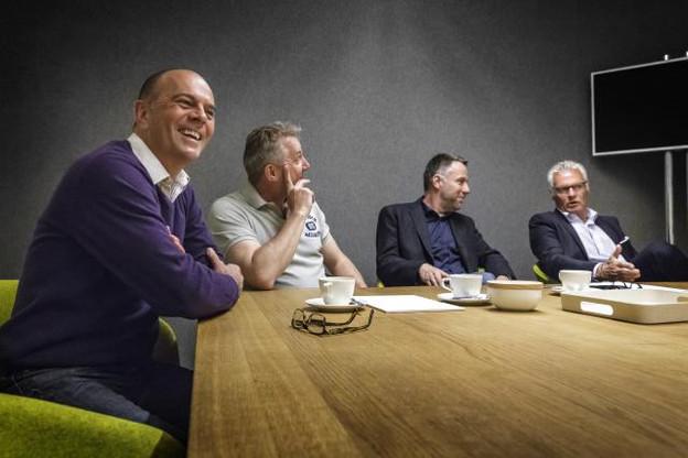 Camille Groff, Pol Goetzinger, Dan Eischen et Jean-Luc Mines: quatre garçons toujours dans le vent, symboles d'un marché de la communication en évolution permanente. (Photo: Jan Hanrion)