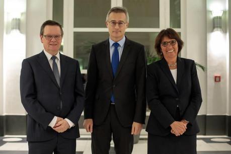 Jean-Claude Wiwinius (président de la Cour supérieure de justice), Félix Braz (ministre de la Justice) et Martine Solovieff (procureur général d'État). (Photo: Matic Zorman)