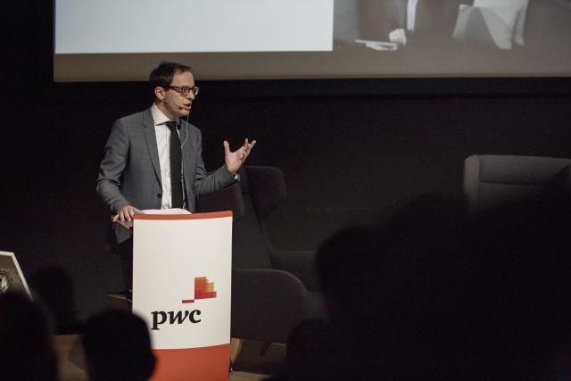 Patrice Witz, technology partner chez PwC Luxembourg, lors du Club Talk «Artificial Intelligence: Threat or Opportunity?» organisé le 14 mars 2018 par le Paperjam Club au sein des locaux de la société.  (Photo: Maison moderne / archives)