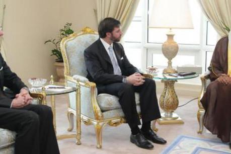 Luc Frieden, S.A.R. le Grand-Duc héritier; Cheikh Hamad bin Jassim Al Thani, Premier ministre du Qatar, le 7 février dernier. (Photo: SIP / Luc Deflorenne tous droits réservés)