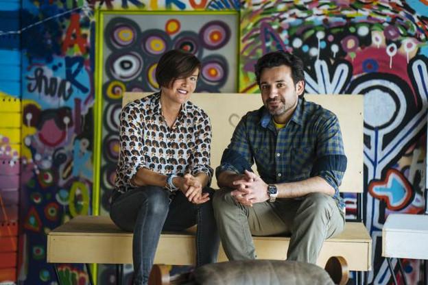 Frédérique et Mahmoud, pharmacien, en provenance d'Alep, en Syrie. (Photo: Sven Becker )