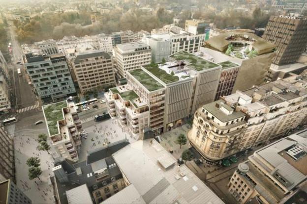 Le projet Royal-Hamilius compte trois résidences de logements. Illustration : Foster+Partners et Tetra Kayser Associés