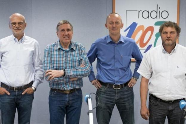 De gauche à droite: Adrien Ney (CEO de Luxair), François Bausch (ministre du Développement durable et des Infrastructures), Johan Vanneste (CEO de Lux-Airport) et Hubert Hollerich (OGBL). (Photo: Radio 100.7)