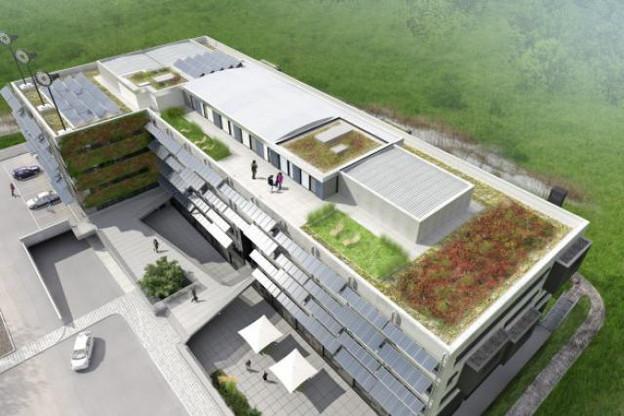 Le bâtiment de 10.000 m2 au cœur l'Ecoparc de Windhof est neutre en émission de CO2. (Photo : Solarwind)