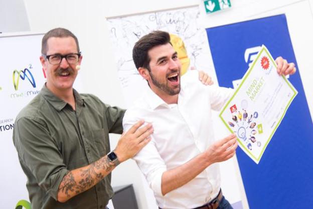 Raphaël Frank (Motion-S) invente le futur aussi, comme y invite Ben Hammersley (à gauche). (Photo: Charles Caratini)