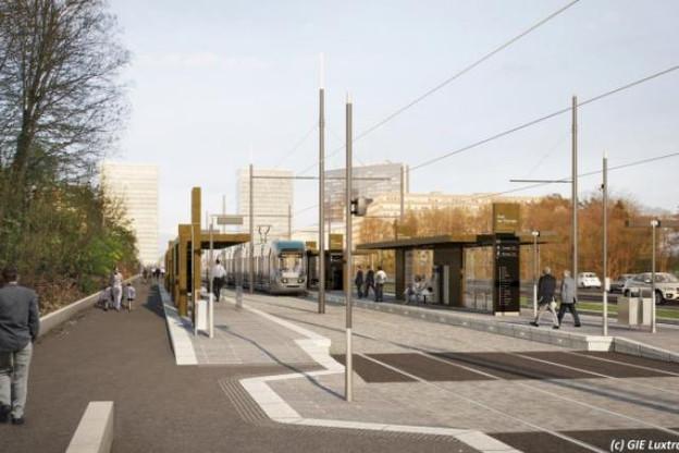 Le futur arrêt pont-rouge, entre le centre-ville et le Kirchberg. (Photo: GIE Luxtram)