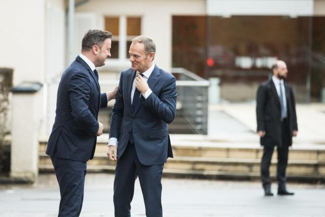 Le Premier ministre luxembourgeois et le président du Conseil européen ont affiché une volonté commune, mercredi, sur le Brexit. (Photo: Edouard Olszewski)