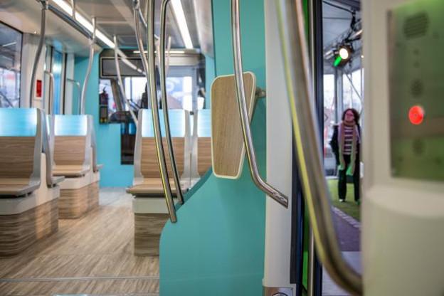 La maquette exposée au Kirchberg permet de se faire une idée de ce que sera le tram, vu de l'intérieur comme de l'extérieur. (Photo: Benjamin Champenois)