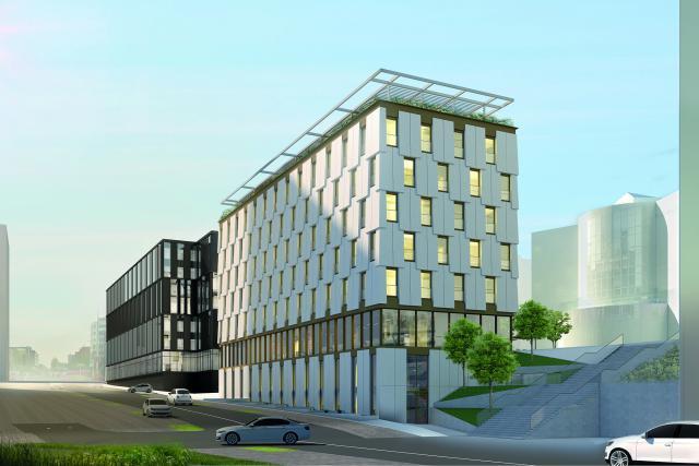 Le futur complexe OBH se compose de deux immeubles, l'un noir, l'autre blanc. Illustration : M3 Architectes