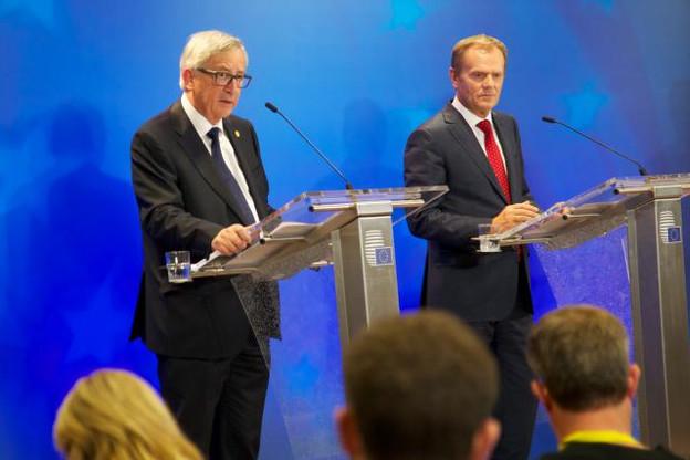 Le président du Conseil européen, Donald Tusk, ici à côté du président de la Commission Jean-Claude Juncker, a annoncé des moyens supplémentaires pour venir en aide aux migrants. (Photo: Conseil européen)