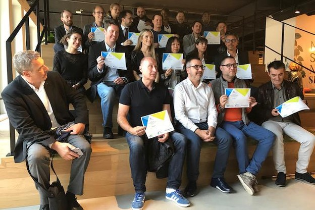 Les 16 start-up sélectionnées étaient réunies lundi soir dans les locaux de Silversquare, à Luxembourg-ville. (Photo: DR)