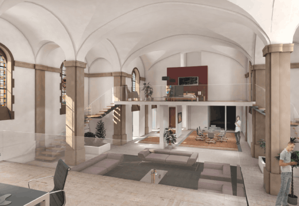 The chapel, with original vaulted ceiling and stained-glass windows, will be converted into a loft-style duplex  Le Cloitre SA