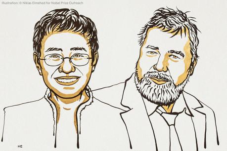 Temps fort de la saison Nobel, le prix de la paixa été attribué ce vendredi à la journaliste philippine Maria Ressa et au journaliste russe DmitryMuratov. (Illustration: Niklas Elmehed – Nobel Prize outreach)