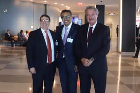 Bruno Eduardo Rodríguez , ministre des Affaires étrangères de Cuba, Dr Tedros Adhanom Ghebreyesus, directeur général de l'OMS et Jean Asselborn. ((Photo: MAEE))