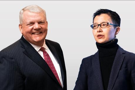 Jim Fitzpatrick, Président et CEO de Nicsa (National Investment Company Service Association), et Sally Wong, CEO de HKIFA (Hong Kong Investment Funds Association). (Photo: Maison Moderne)