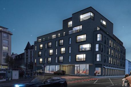 La place Sts Pierre et Paul à Hollerich accueillera une nouvelle résidence à la façade en briques. (Photo: M3 Architecte)