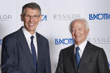 Hubert Sagnières et Leonardo Del Vecchio ont tous les deux décidé de se retirer de leurs fonctions exécutives. Un nouveau tandem est en place jusqu'à l'assemblée générale de 2021. (Photo: Essilor)