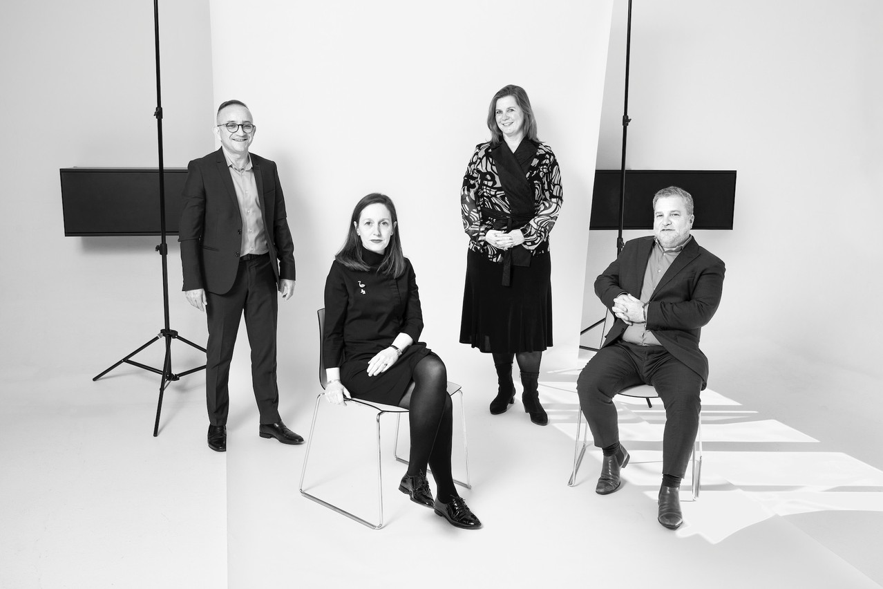 Francis Gasparotto, Emmanuelle Thivollard, Geraldine Knudson et Youcef Damardji. (Photo: Simon Verjus/Maison Moderne)