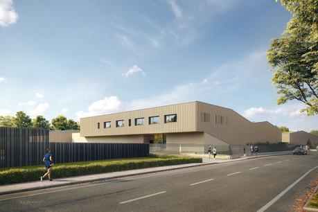 Vue des nouveaux bâtiments pour le Service des cimetières de la Ville de Luxembourg. (Illustration : Vize/SchemelWirtz)